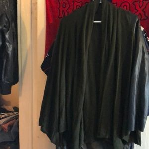 Zara knit poncho with leather sleeves